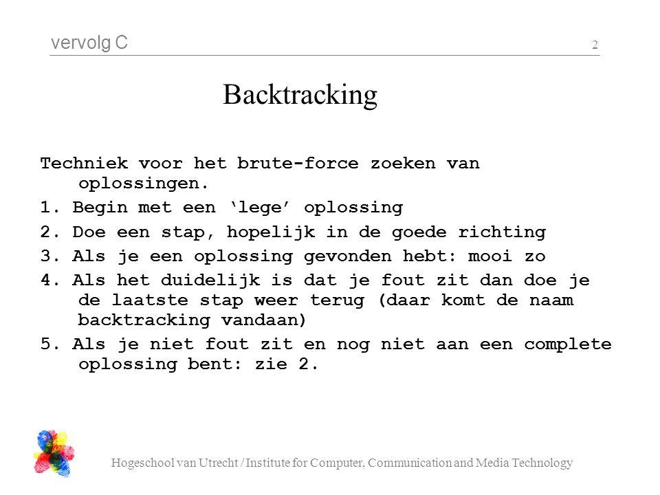 vervolg C Hogeschool van Utrecht / Institute for Computer, Communication and Media Technology 2 Backtracking Techniek voor het brute-force zoeken van