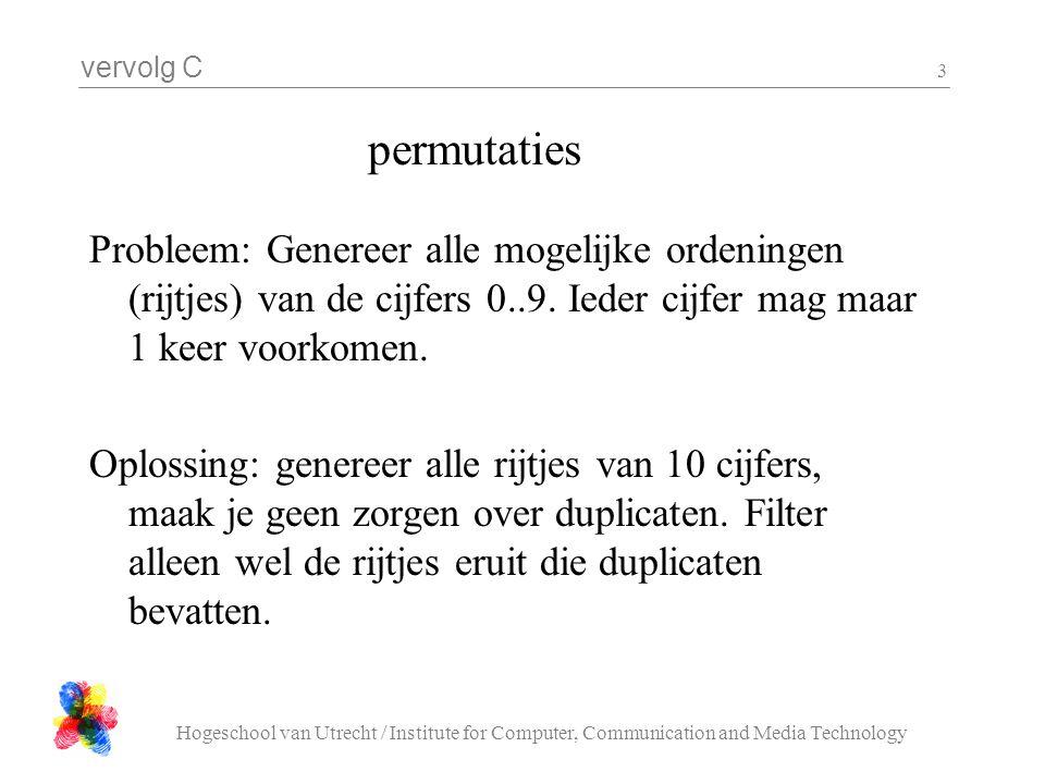 vervolg C Hogeschool van Utrecht / Institute for Computer, Communication and Media Technology 3 Probleem: Genereer alle mogelijke ordeningen (rijtjes)
