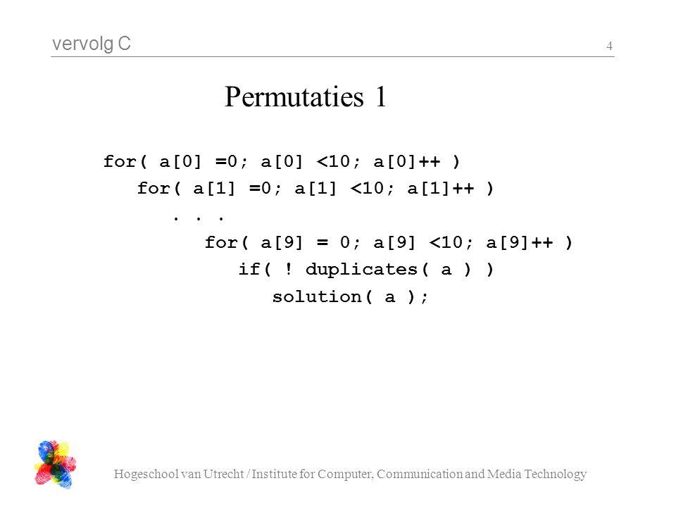 vervolg C Hogeschool van Utrecht / Institute for Computer, Communication and Media Technology 4 for( a[0] =0; a[0] <10; a[0]++ ) for( a[1] =0; a[1] <1
