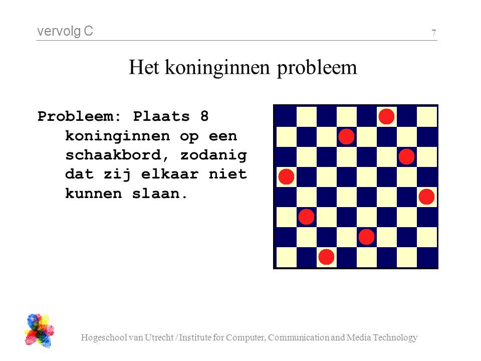 vervolg C Hogeschool van Utrecht / Institute for Computer, Communication and Media Technology 7 Het koninginnen probleem Probleem: Plaats 8 koninginne