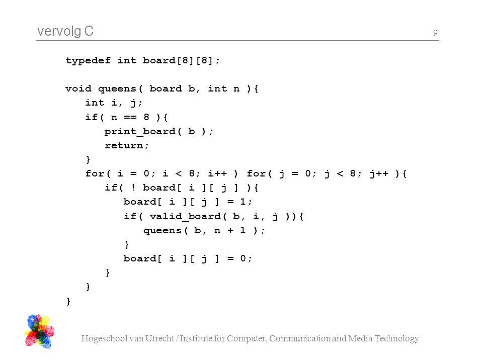 vervolg C Hogeschool van Utrecht / Institute for Computer, Communication and Media Technology 9 typedef int board[8][8]; void queens( board b, int n )