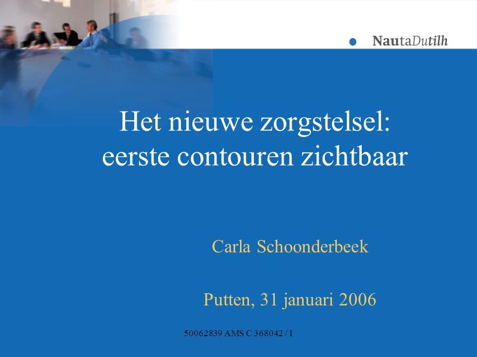 50062839 AMS C 368042 / 1 Het nieuwe zorgstelsel: eerste contouren zichtbaar Carla Schoonderbeek Putten, 31 januari 2006