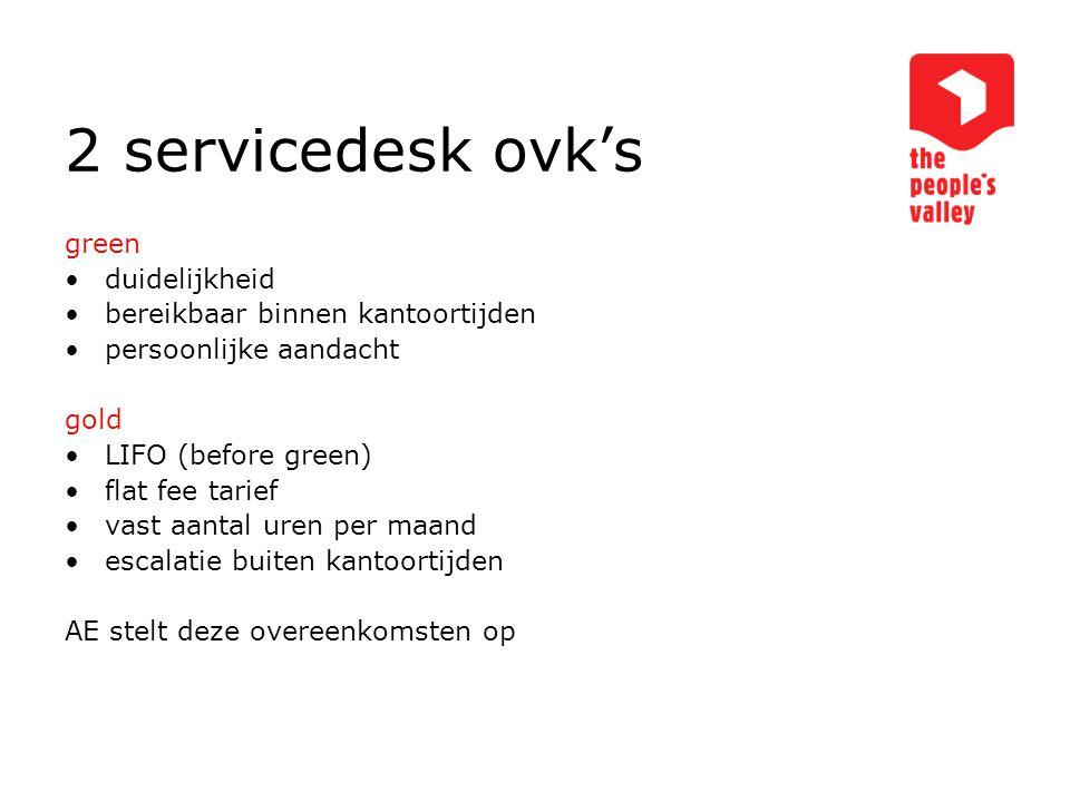 2 servicedesk ovk's green duidelijkheid bereikbaar binnen kantoortijden persoonlijke aandacht gold LIFO (before green) flat fee tarief vast aantal ure