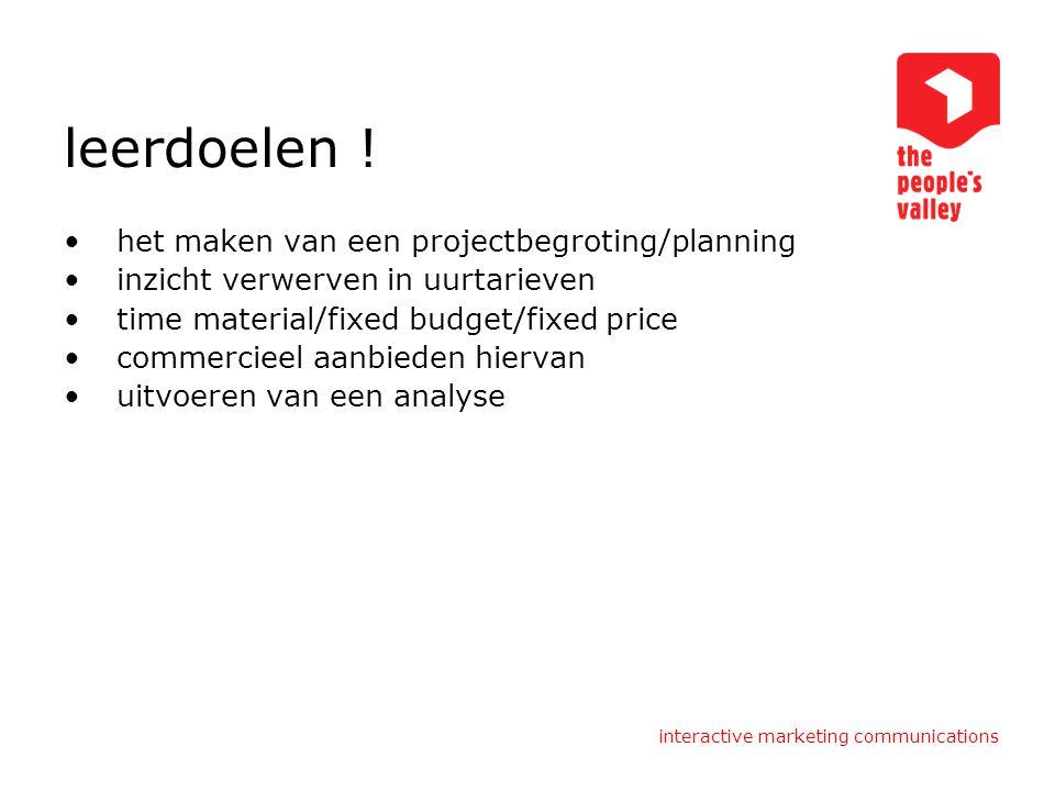 interactive marketing communications leerdoelen ! het maken van een projectbegroting/planning inzicht verwerven in uurtarieven time material/fixed bud