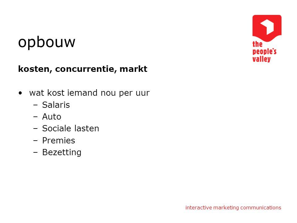 interactive marketing communications opbouw kosten, concurrentie, markt wat kost iemand nou per uur –Salaris –Auto –Sociale lasten –Premies –Bezetting
