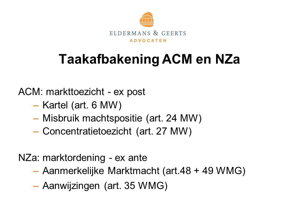 Taakafbakening ACM en NZa ACM: markttoezicht - ex post –Kartel (art.