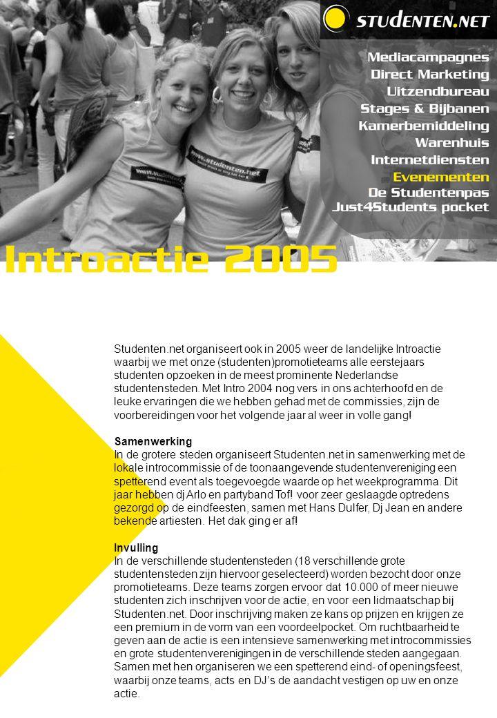 Studenten.net organiseert ook in 2005 weer de landelijke Introactie waarbij we met onze (studenten)promotieteams alle eerstejaars studenten opzoeken in de meest prominente Nederlandse studentensteden.