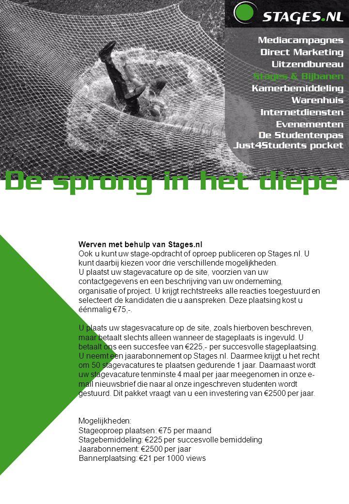 Werven met behulp van Stages.nl Ook u kunt uw stage-opdracht of oproep publiceren op Stages.nl. U kunt daarbij kiezen voor drie verschillende mogelijk
