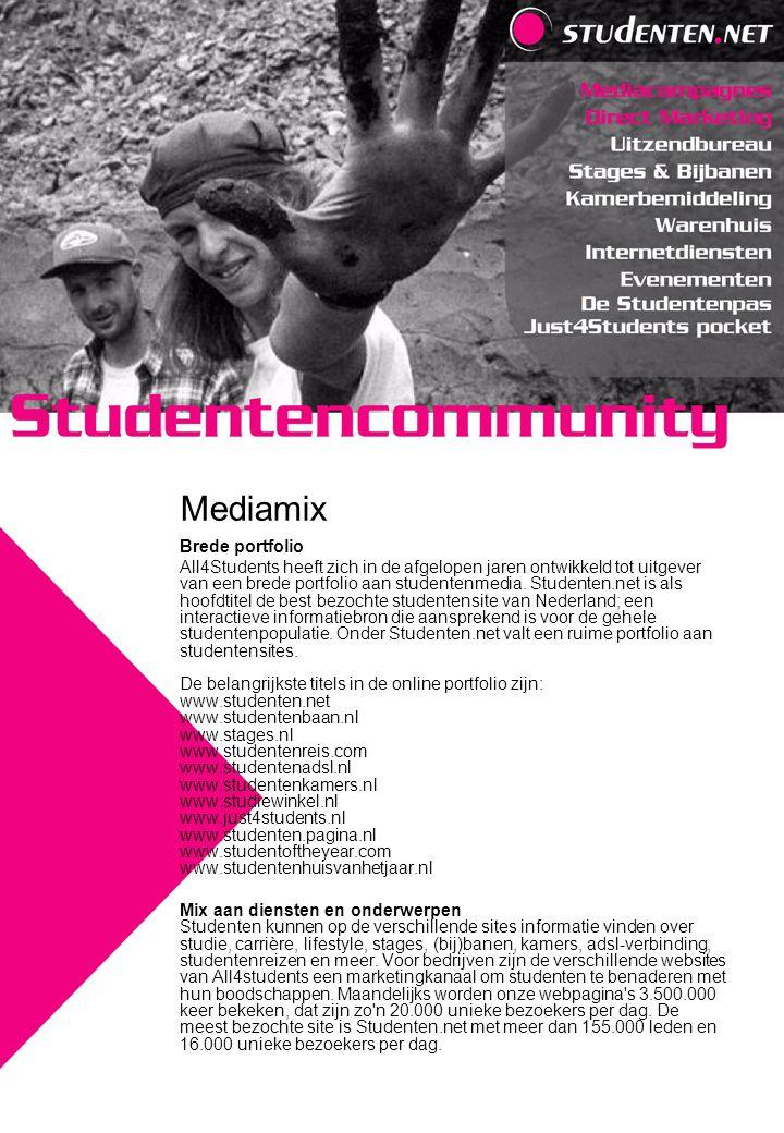 Brede portfolio All4Students heeft zich in de afgelopen jaren ontwikkeld tot uitgever van een brede portfolio aan studentenmedia. Studenten.net is als