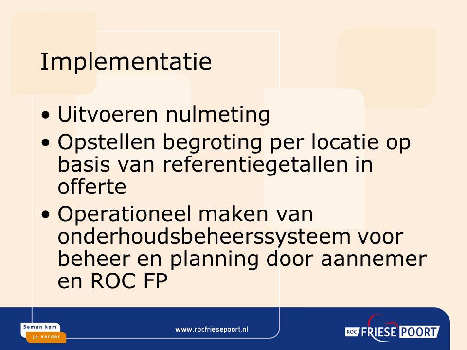 Implementatie Uitvoeren nulmeting Opstellen begroting per locatie op basis van referentiegetallen in offerte Operationeel maken van onderhoudsbeheerss
