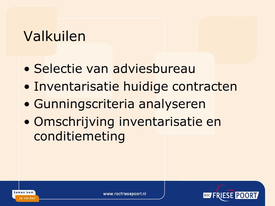 Valkuilen Selectie van adviesbureau Inventarisatie huidige contracten Gunningscriteria analyseren Omschrijving inventarisatie en conditiemeting