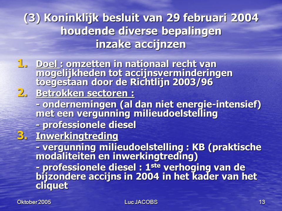 Oktober 2005Luc JACOBS13 (3) Koninklijk besluit van 29 februari 2004 houdende diverse bepalingen inzake accijnzen 1.