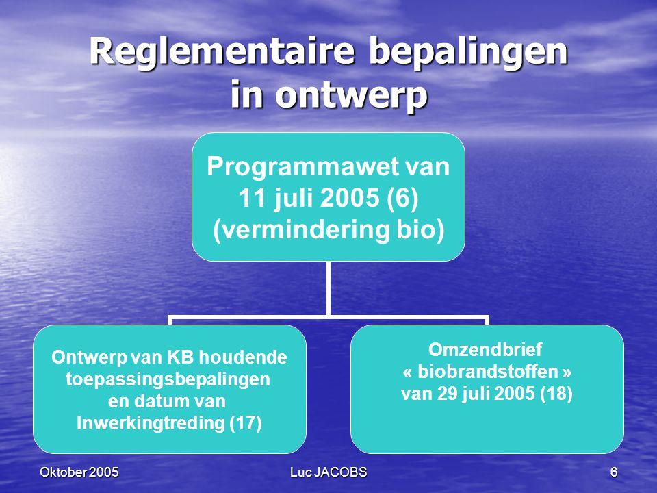 Oktober 2005Luc JACOBS6 Reglementaire bepalingen in ontwerp Programmawet van 11 juli 2005 (6) (vermindering bio) Ontwerp van KB houdende toepassingsbepalingen en datum van Inwerkingtreding (17) Omzendbrief « biobrandstoffen » van 29 juli 2005 (18)