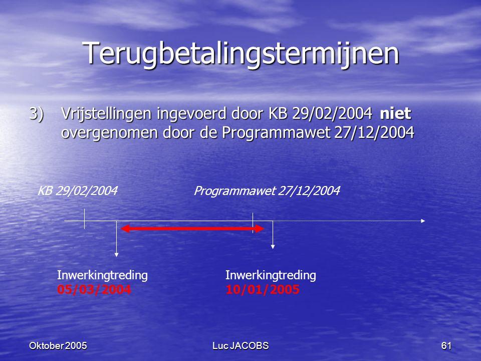 Oktober 2005Luc JACOBS61 Terugbetalingstermijnen 3)Vrijstellingen ingevoerd door KB 29/02/2004 niet overgenomen door de Programmawet 27/12/2004 KB 29/02/2004Programmawet 27/12/2004 Inwerkingtreding 05/03/2004 Inwerkingtreding 10/01/2005