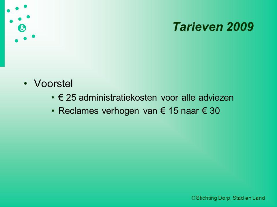  Stichting Dorp, Stad en Land   &  Tarieven 2009 Voorstel € 25 administratiekosten voor alle adviezen Reclames verhogen van € 15 naar