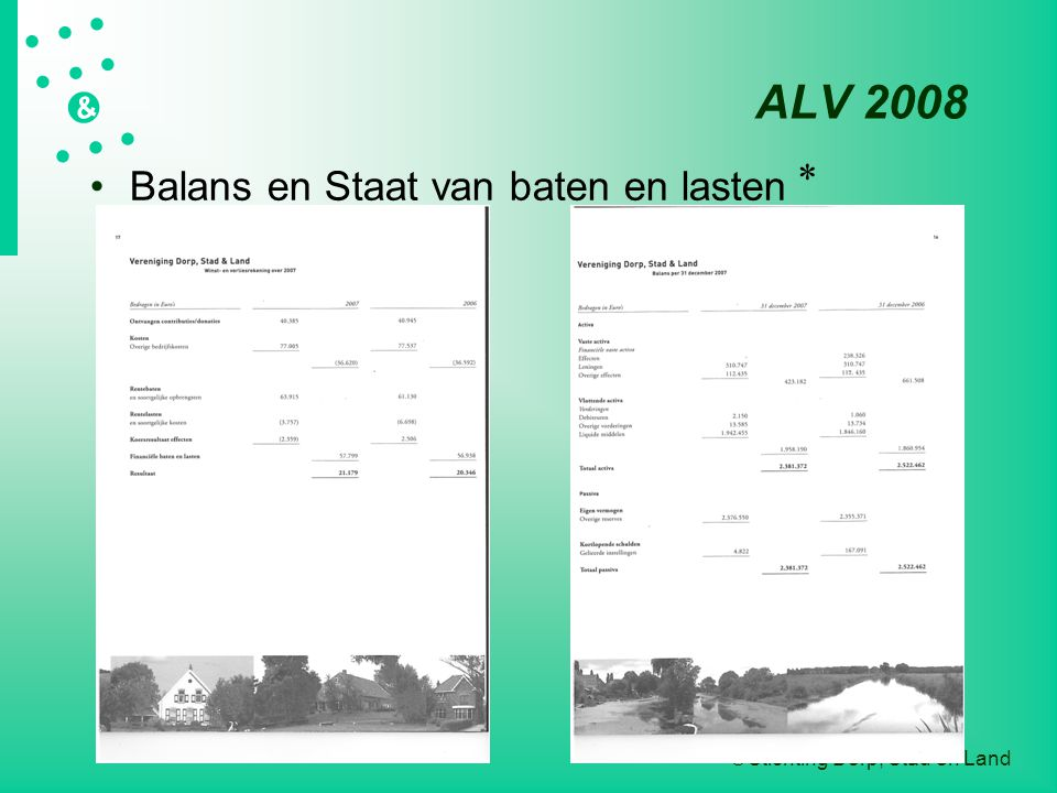  Stichting Dorp, Stad en Land   &  ALV 2008 Balans en Staat van baten en lasten *