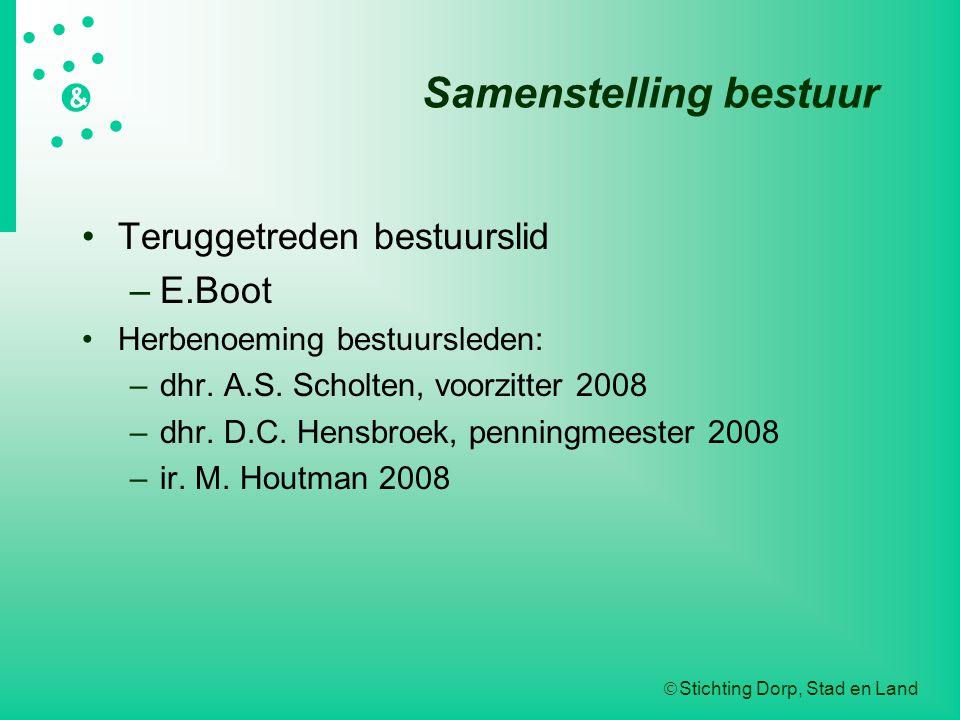  Stichting Dorp, Stad en Land   &  Samenstelling bestuur Teruggetreden bestuurslid –E.Boot Herbenoeming bestuursleden: –dhr. A.S. Sch