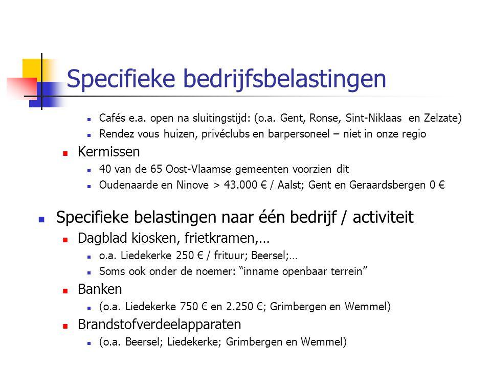 Specifieke bedrijfsbelastingen Cafés e.a. open na sluitingstijd: (o.a. Gent, Ronse, Sint-Niklaas en Zelzate) Rendez vous huizen, privéclubs en barpers
