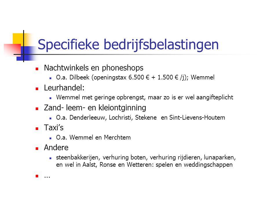 Specifieke bedrijfsbelastingen Nachtwinkels en phoneshops O.a. Dilbeek (openingstax 6.500 € + 1.500 € /j); Wemmel Leurhandel: Wemmel met geringe opbre
