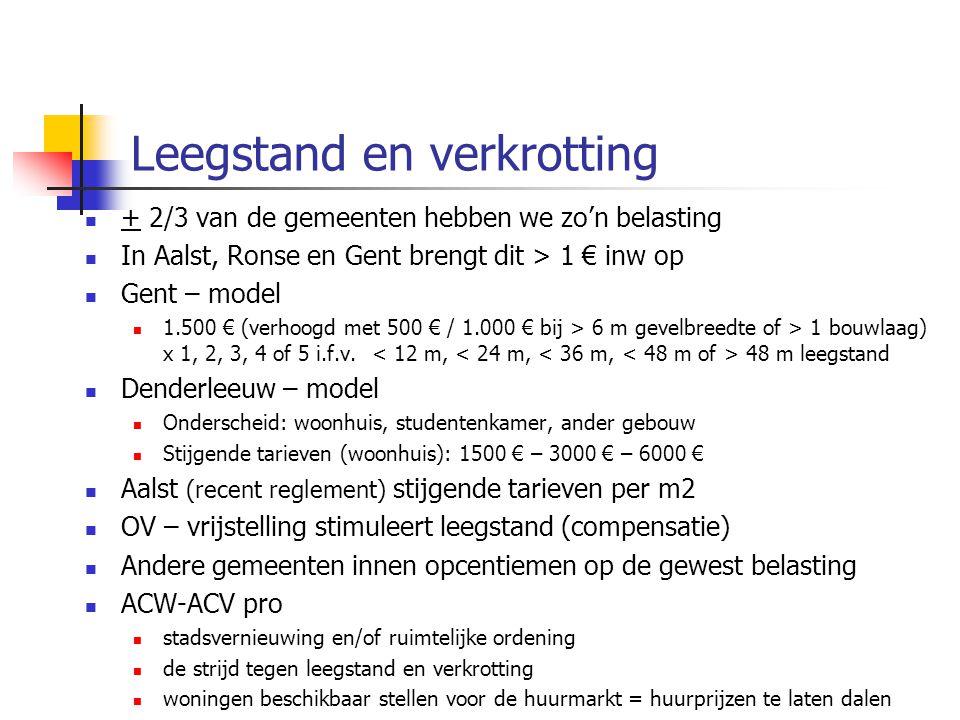 Leegstand en verkrotting + 2/3 van de gemeenten hebben we zo'n belasting In Aalst, Ronse en Gent brengt dit > 1 € inw op Gent – model 1.500 € (verhoogd met 500 € / 1.000 € bij > 6 m gevelbreedte of > 1 bouwlaag) x 1, 2, 3, 4 of 5 i.f.v.