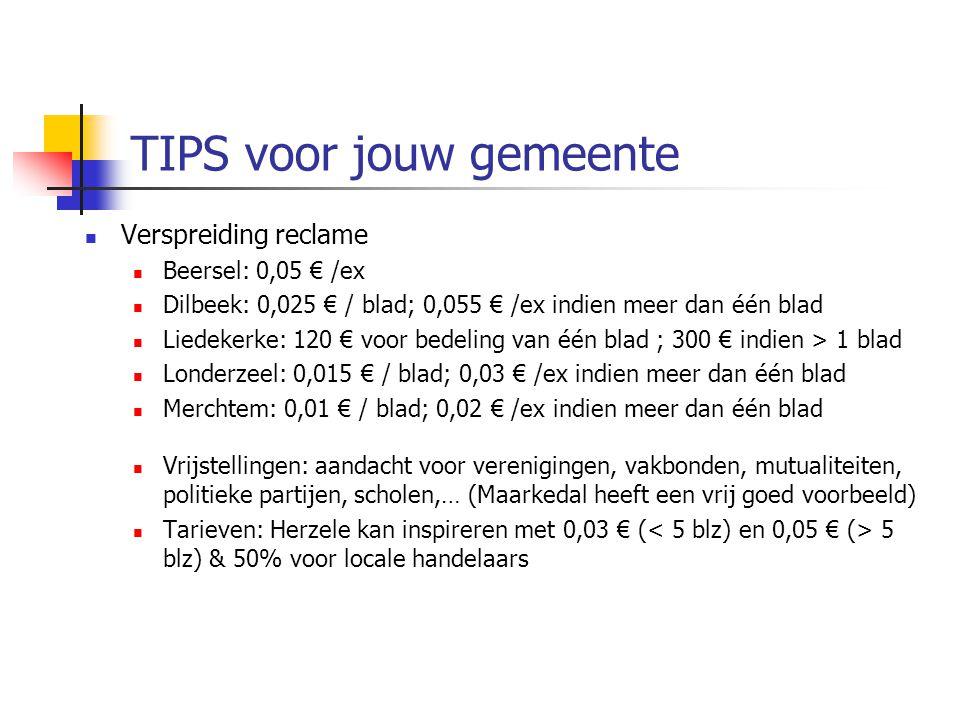 TIPS voor jouw gemeente Verspreiding reclame Beersel: 0,05 € /ex Dilbeek: 0,025 € / blad; 0,055 € /ex indien meer dan één blad Liedekerke: 120 € voor