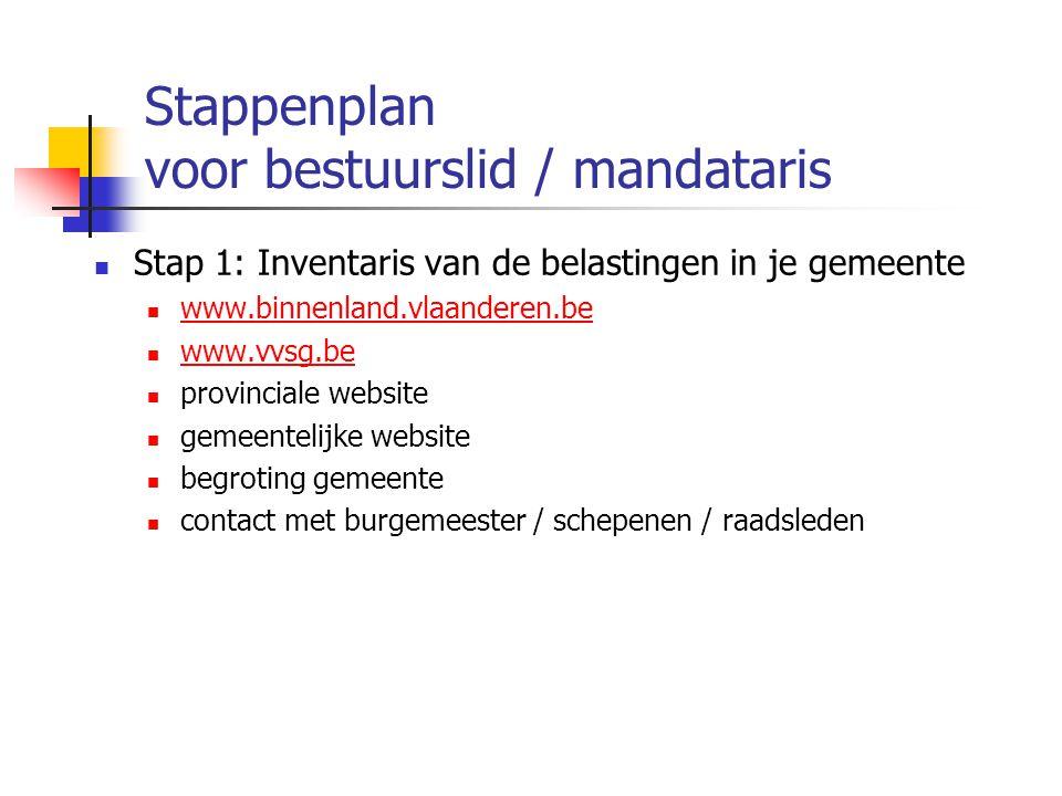 Stappenplan voor bestuurslid / mandataris Stap 1: Inventaris van de belastingen in je gemeente www.binnenland.vlaanderen.be www.vvsg.be provinciale we