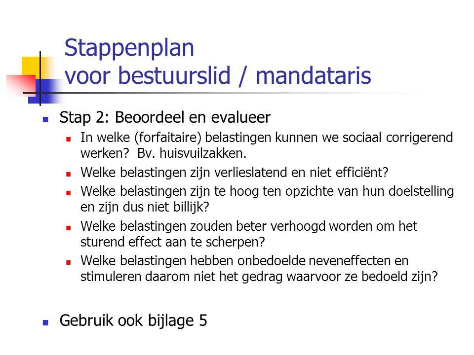 Stappenplan voor bestuurslid / mandataris Stap 2: Beoordeel en evalueer In welke (forfaitaire) belastingen kunnen we sociaal corrigerend werken? Bv. h