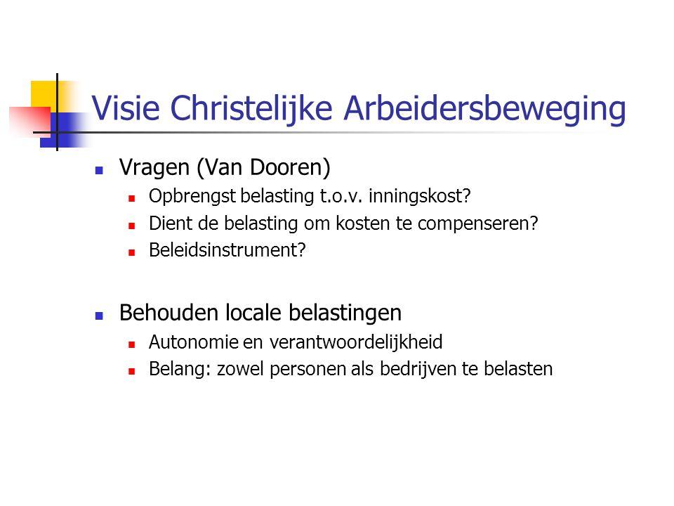 Visie Christelijke Arbeidersbeweging Vragen (Van Dooren) Opbrengst belasting t.o.v.