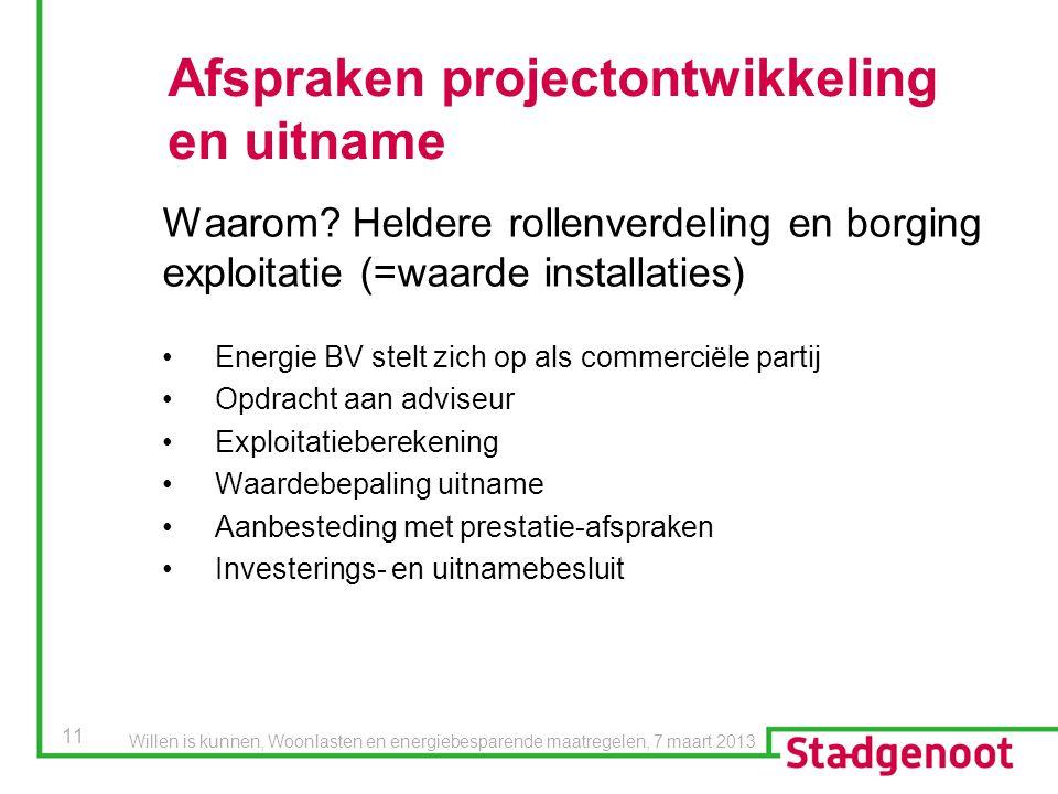 11 Afspraken projectontwikkeling en uitname Energie BV stelt zich op als commerciële partij Opdracht aan adviseur Exploitatieberekening Waardebepaling