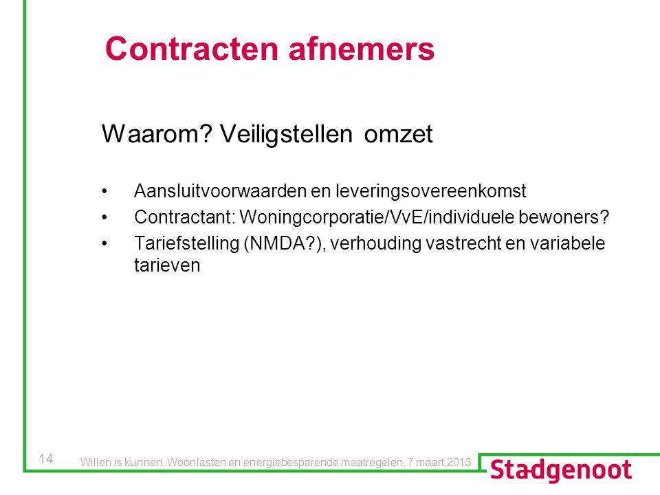 14 Contracten afnemers Waarom? Veiligstellen omzet Aansluitvoorwaarden en leveringsovereenkomst Contractant: Woningcorporatie/VvE/individuele bewoners
