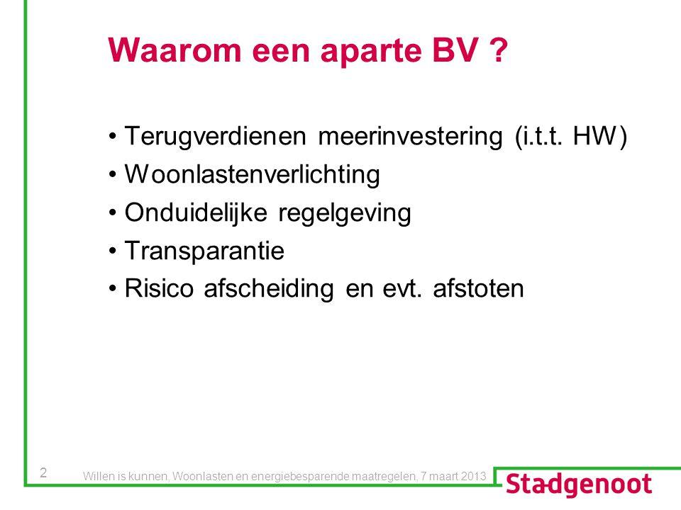 2 Waarom een aparte BV ? Terugverdienen meerinvestering (i.t.t. HW) Woonlastenverlichting Onduidelijke regelgeving Transparantie Risico afscheiding en