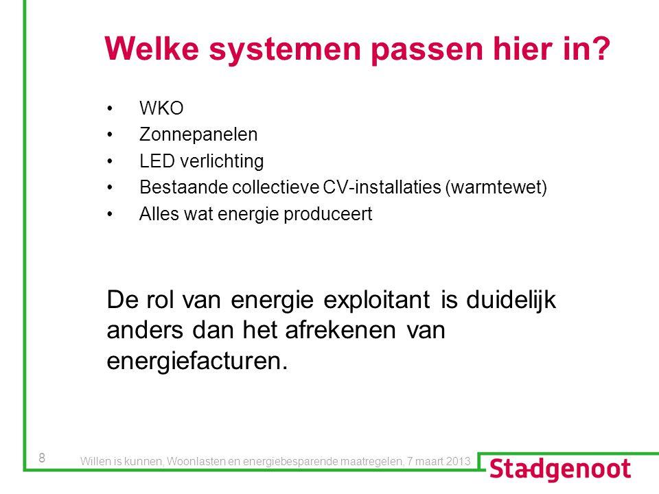 8 Welke systemen passen hier in? WKO Zonnepanelen LED verlichting Bestaande collectieve CV-installaties (warmtewet) Alles wat energie produceert De ro