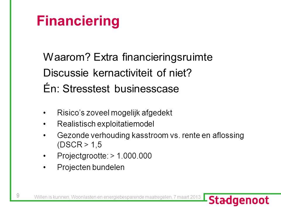 9 Financiering Waarom? Extra financieringsruimte Discussie kernactiviteit of niet? Én: Stresstest businesscase Risico's zoveel mogelijk afgedekt Reali