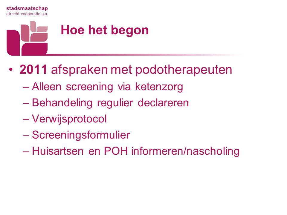 Hoe het begon 2011 afspraken met podotherapeuten –Alleen screening via ketenzorg –Behandeling regulier declareren –Verwijsprotocol –Screeningsformulie