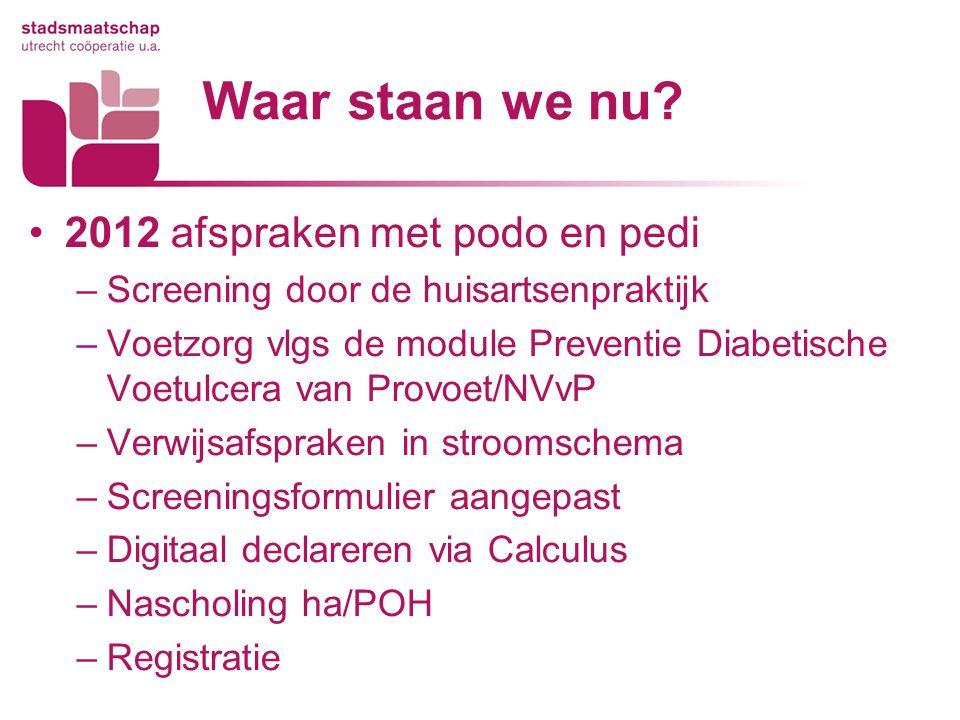 Waar staan we nu? 2012 afspraken met podo en pedi –Screening door de huisartsenpraktijk –Voetzorg vlgs de module Preventie Diabetische Voetulcera van