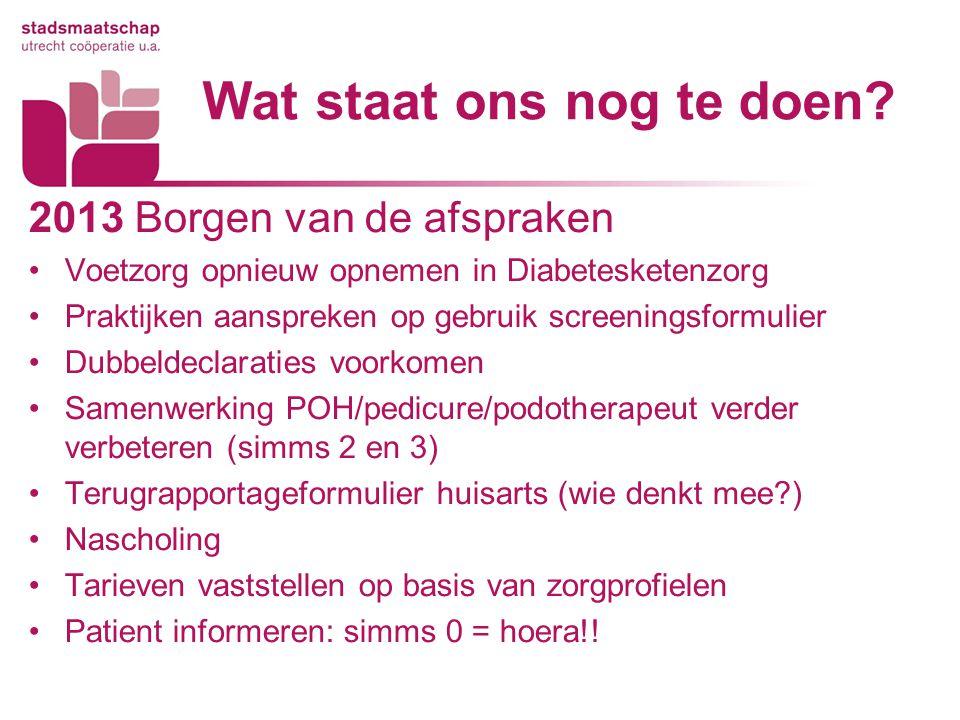 Wat staat ons nog te doen? 2013 Borgen van de afspraken Voetzorg opnieuw opnemen in Diabetesketenzorg Praktijken aanspreken op gebruik screeningsformu