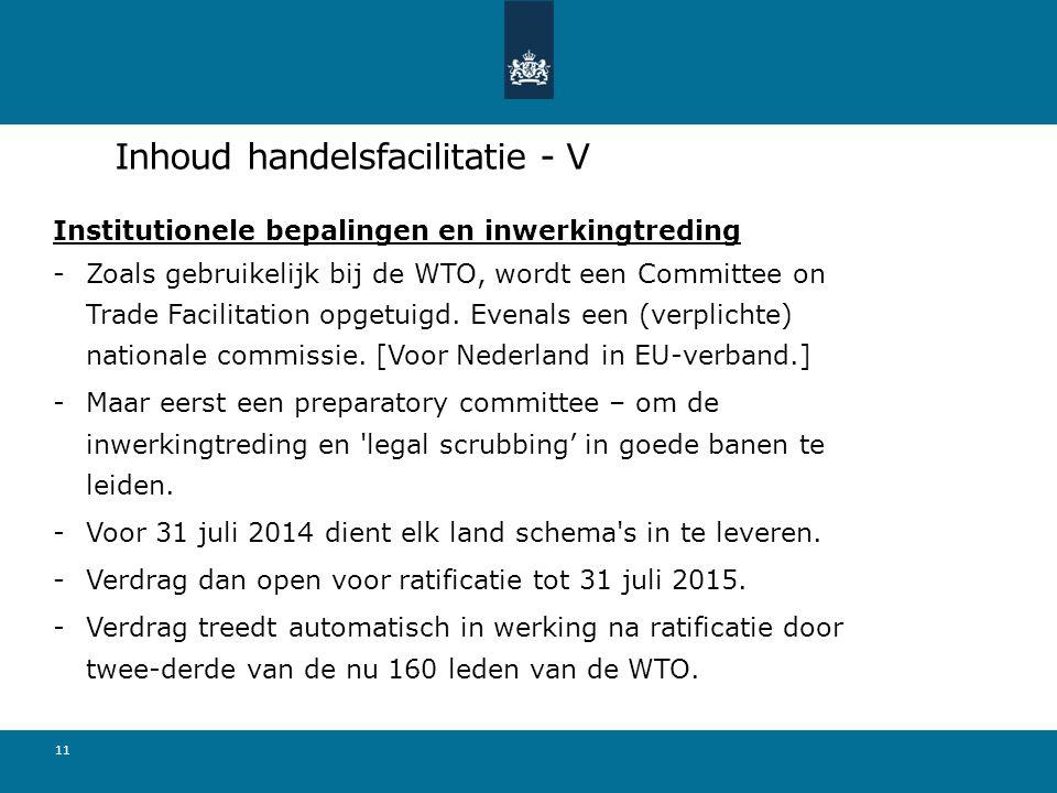 Inhoud handelsfacilitatie - V Institutionele bepalingen en inwerkingtreding -Zoals gebruikelijk bij de WTO, wordt een Committee on Trade Facilitation opgetuigd.