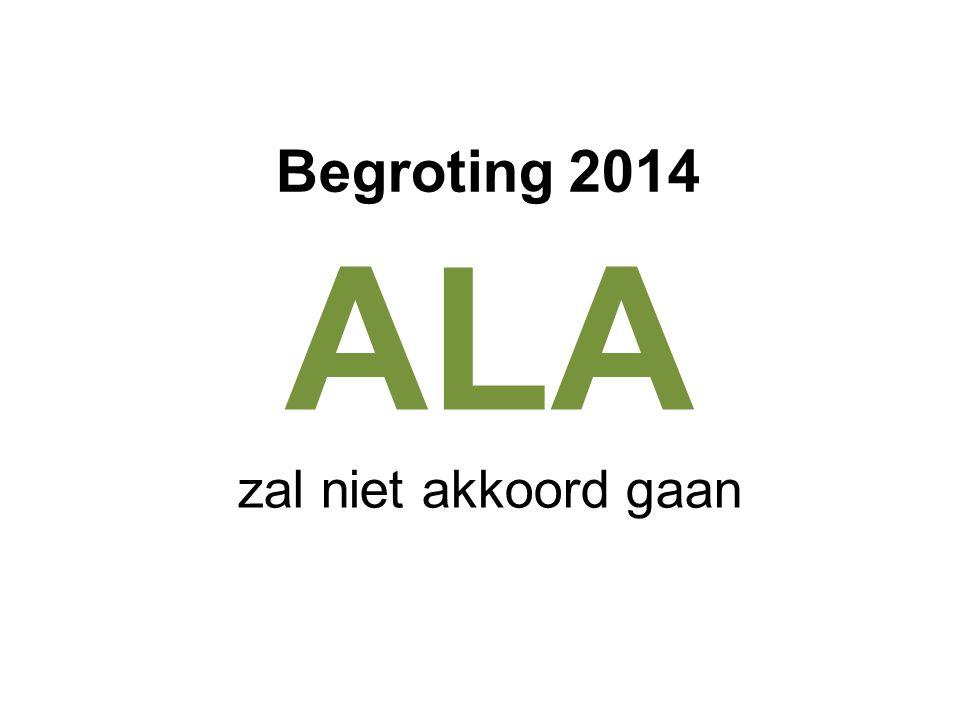 ALA zal niet akkoord gaan Begroting 2014