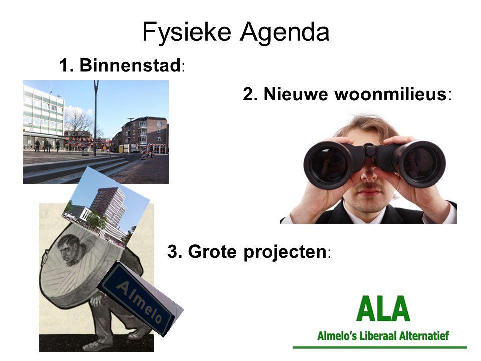 1. Binnenstad : Fysieke Agenda 2. Nieuwe woonmilieus: 3. Grote projecten :