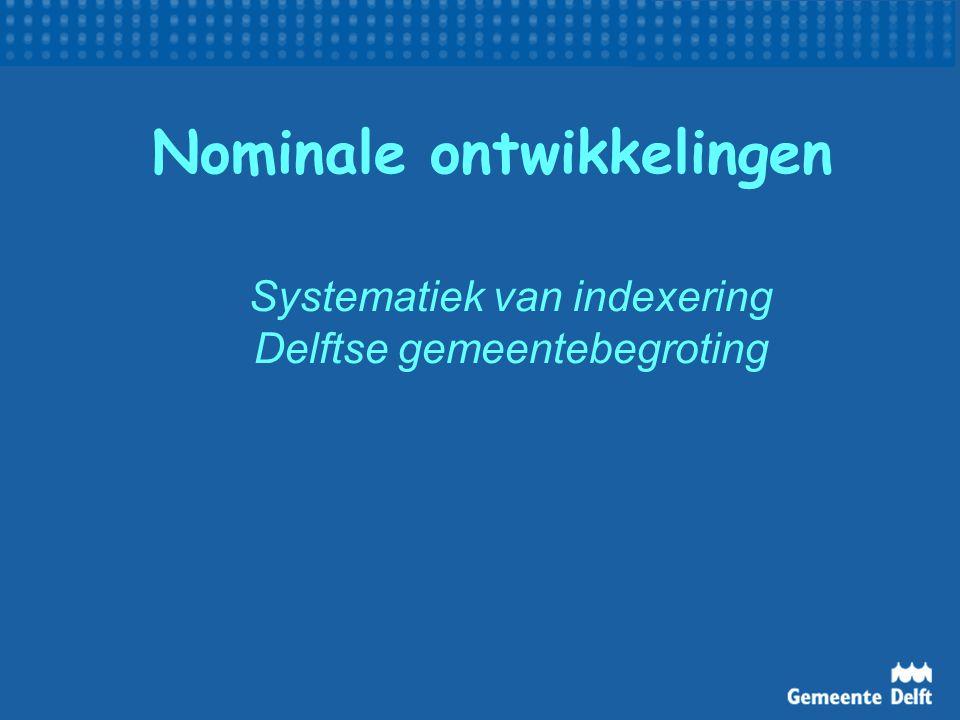 Nominale ontwikkelingen Systematiek van indexering Delftse gemeentebegroting