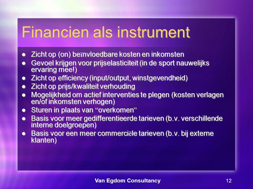 Van Egdom Consultancy 12 Financien als instrument Zicht op (on) be ï nvloedbare kosten en inkomsten Gevoel krijgen voor prijselasticiteit (in de sport nauwelijks ervaring mee!) Zicht op efficiency (input/output, winstgevendheid) Zicht op prijs/kwaliteit verhouding Mogelijkheid om actief interventies te plegen (kosten verlagen en/of inkomsten verhogen) Sturen in plaats van overkomen Basis voor meer gedifferentieerde tarieven (b.v.