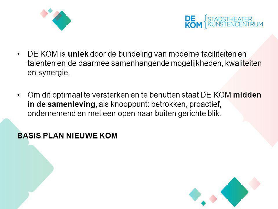 DE KOM is uniek door de bundeling van moderne faciliteiten en talenten en de daarmee samenhangende mogelijkheden, kwaliteiten en synergie.