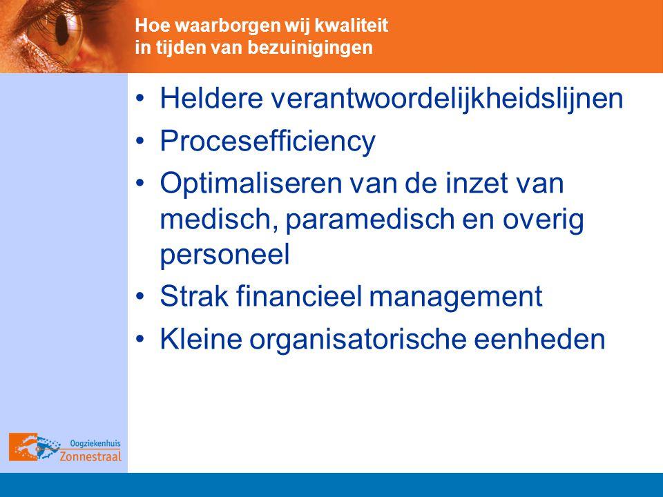 Hoe waarborgen wij kwaliteit in tijden van bezuinigingen Heldere verantwoordelijkheidslijnen Procesefficiency Optimaliseren van de inzet van medisch, paramedisch en overig personeel Strak financieel management Kleine organisatorische eenheden