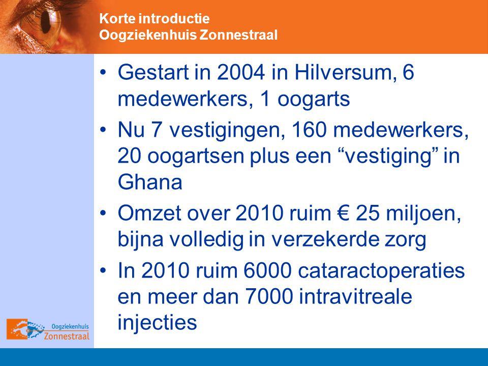 Korte introductie Oogziekenhuis Zonnestraal Gestart in 2004 in Hilversum, 6 medewerkers, 1 oogarts Nu 7 vestigingen, 160 medewerkers, 20 oogartsen plus een vestiging in Ghana Omzet over 2010 ruim € 25 miljoen, bijna volledig in verzekerde zorg In 2010 ruim 6000 cataractoperaties en meer dan 7000 intravitreale injecties