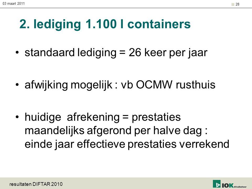03 maart 2011 resultaten DIFTAR 2010 28 2. lediging 1.100 l containers standaard lediging = 26 keer per jaar afwijking mogelijk : vb OCMW rusthuis hui