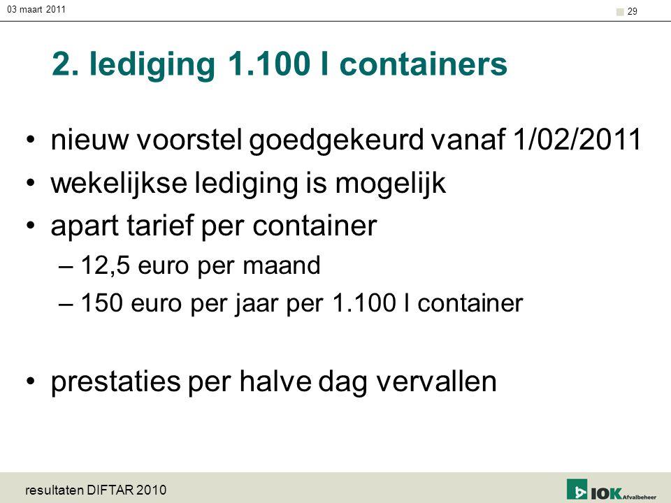03 maart 2011 resultaten DIFTAR 2010 29 2. lediging 1.100 l containers nieuw voorstel goedgekeurd vanaf 1/02/2011 wekelijkse lediging is mogelijk apar