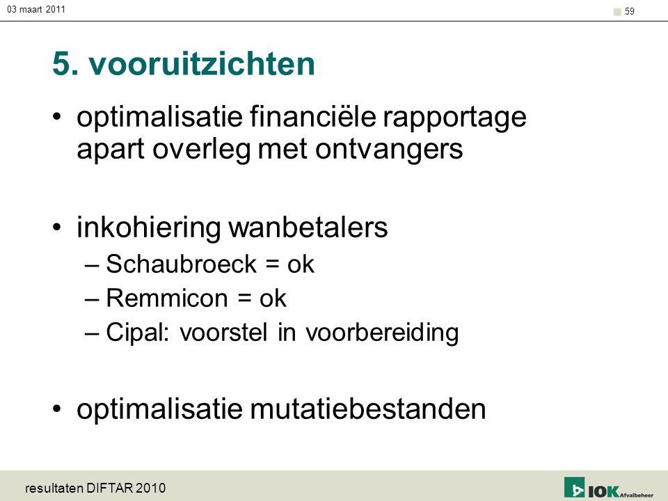 03 maart 2011 resultaten DIFTAR 2010 59 5. vooruitzichten optimalisatie financiële rapportage apart overleg met ontvangers inkohiering wanbetalers –Sc