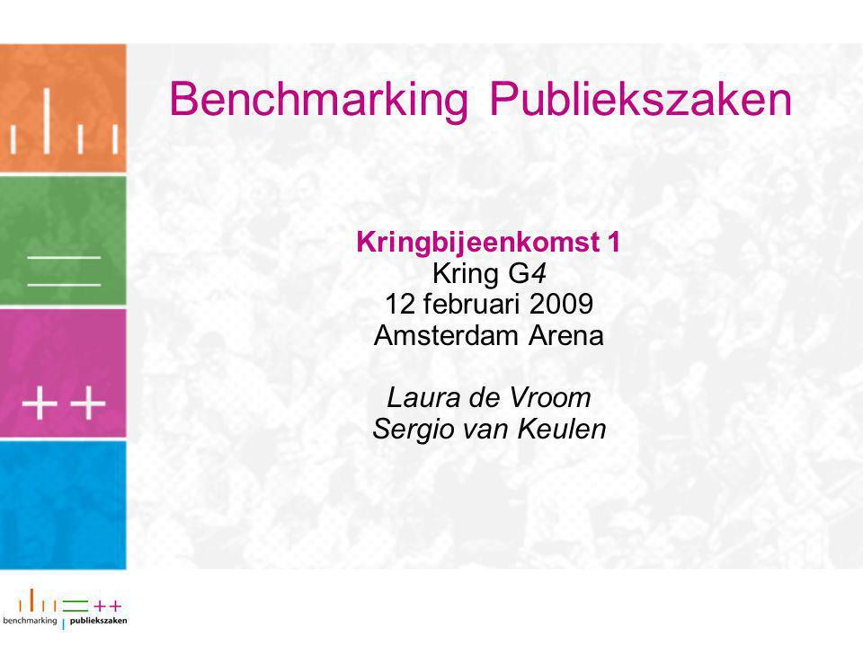 Benchmarking Publiekszaken Kringbijeenkomst 1 Kring G4 12 februari 2009 Amsterdam Arena Laura de Vroom Sergio van Keulen