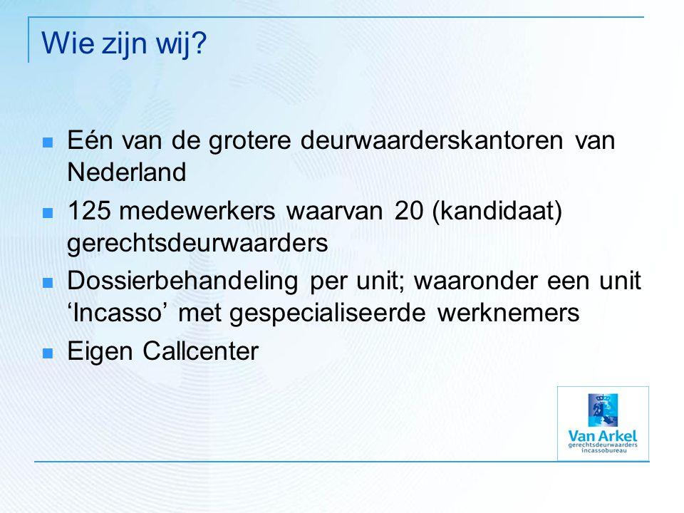 Wie zijn wij? Eén van de grotere deurwaarderskantoren van Nederland 125 medewerkers waarvan 20 (kandidaat) gerechtsdeurwaarders Dossierbehandeling per