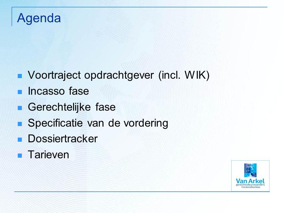 Agenda Voortraject opdrachtgever (incl. WIK) Incasso fase Gerechtelijke fase Specificatie van de vordering Dossiertracker Tarieven